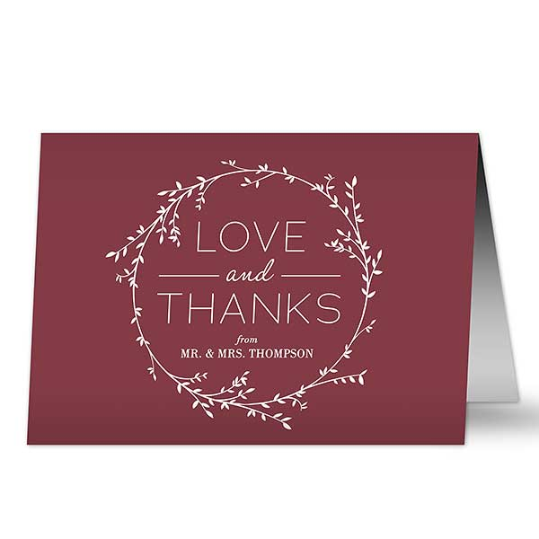 Simple Wreath Personalized Wedding Thank You Card - 20429