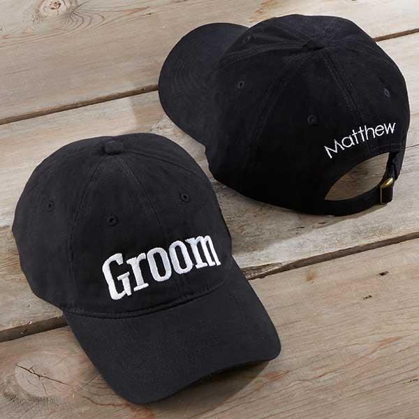 a940b54e7bf Custom Embroidered Wedding Baseball Hat - Black - Wedding Gifts