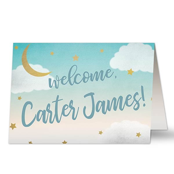 Personalized Baby Congratulations Card - Over The Moon - 20458