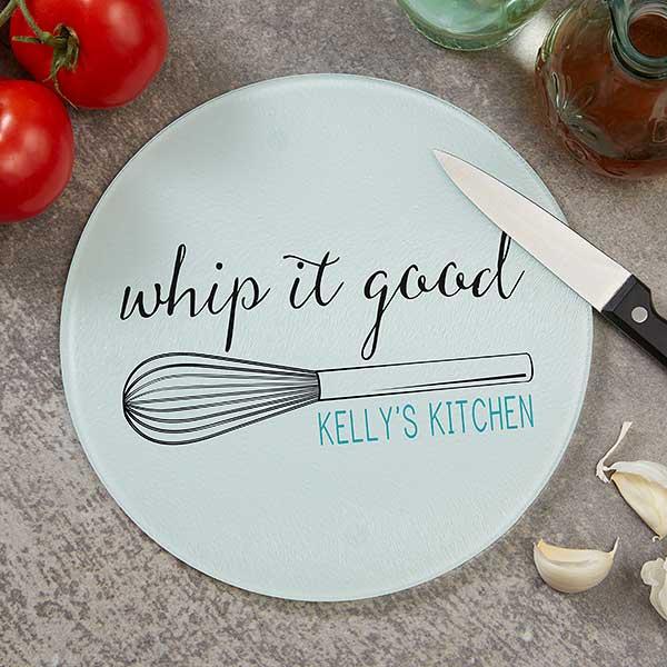 Personalized Round Glass Cutting Boards - Kitchen Puns - 20466