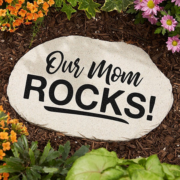 Our Mom Rocks Personalized Large Garden Stone