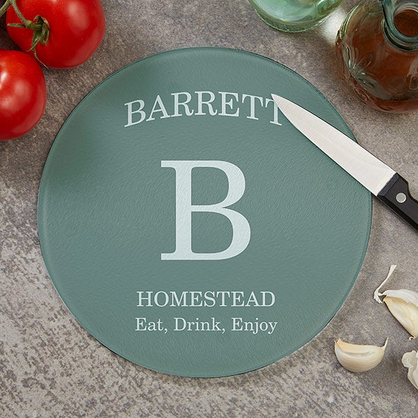 Personalized Round Glass Cutting Boards - Family Kitchen - 20470