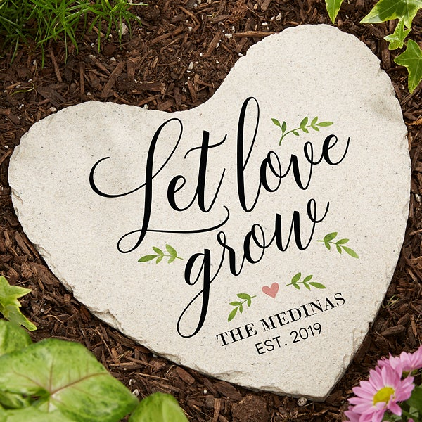 Let Love Grow Large Personalized Heart Garden Stone