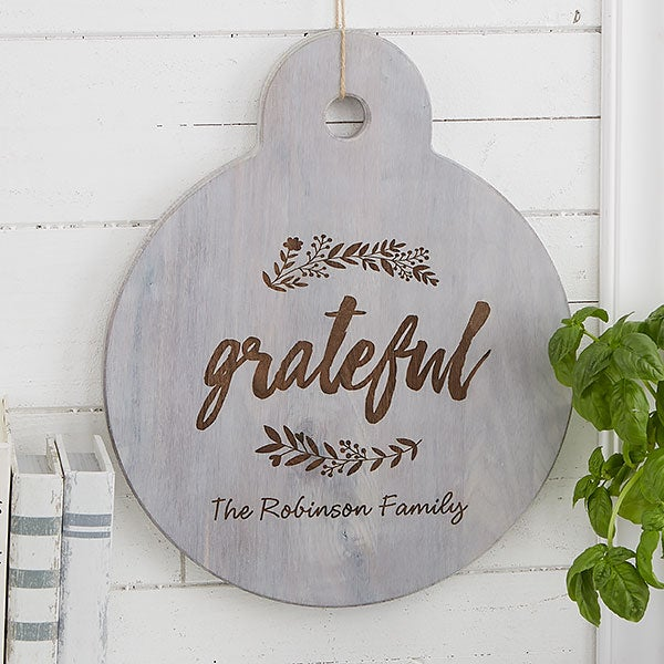 Personalized Round Wooden Serving Paddle - Cozy Kitchen - 20572