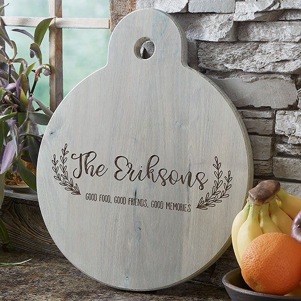 Personalized Round Wooden Serving Paddle - Rustic Farmhouse - 20578