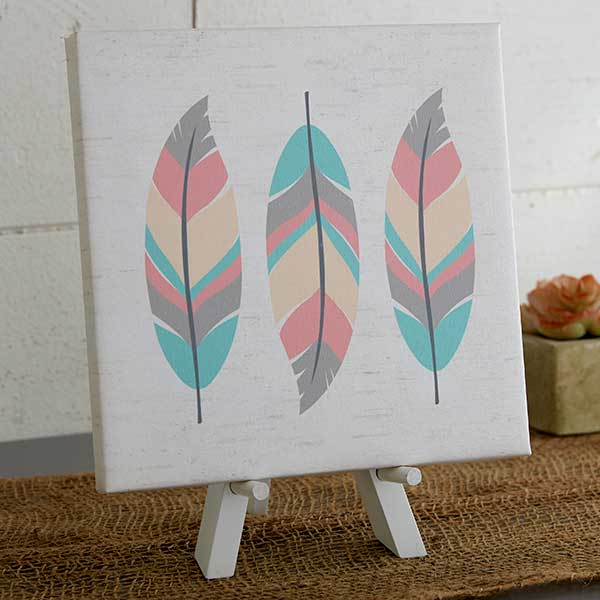 Feathers Personalized Baby Boho Canvas Prints - 20585