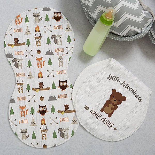 Personalized Burp Cloths - Woodland Adventure - 20619