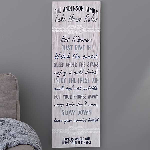 Summer Rules Sign Personalized Canvas Print - 20627
