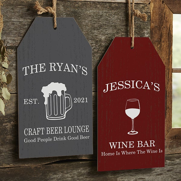 Personalized Home Bar Wall Tag Signs