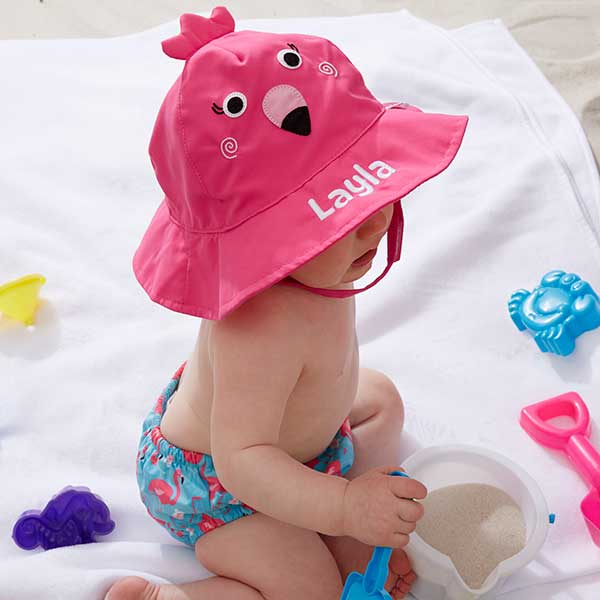 Flamingo Embroidered Sun Hat & Diaper Cover Set