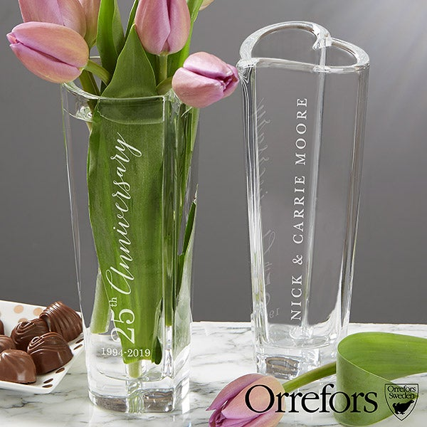 15 Year Anniversary Gift - Engraved Crystal Vase - 20763