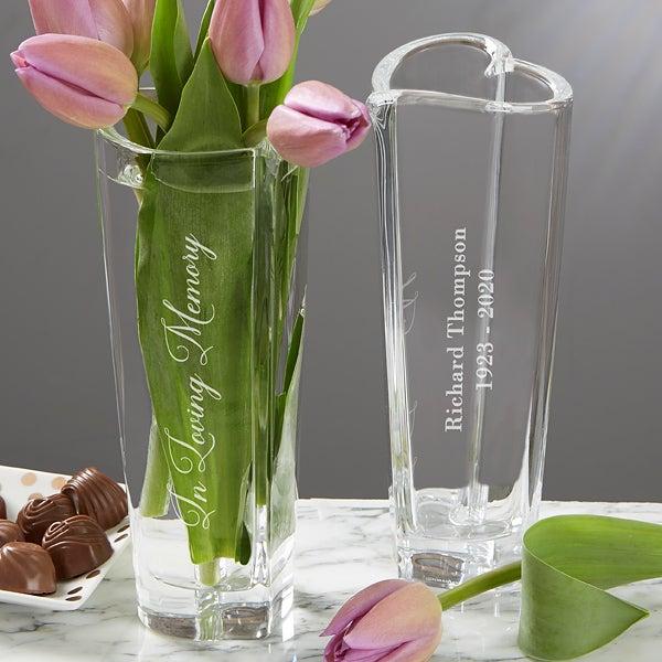 Beautiful Green Glass Engraved Vase Flowers Vase