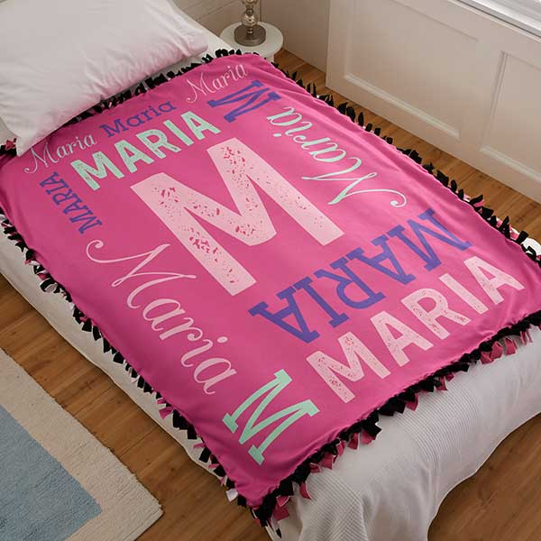 Personalized Fleece Tie Blanket - Repeating Girl Name - 20773