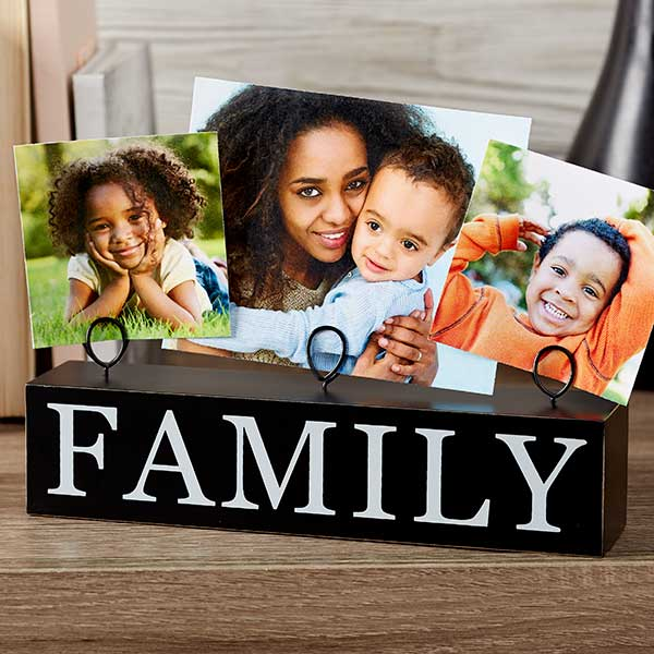 Family Photo Clip Holder Wood Block - 20871