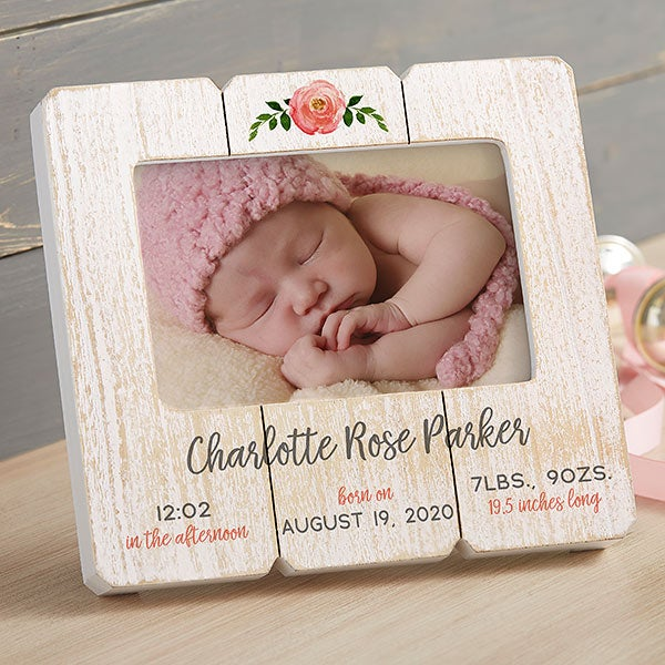 Floral Baby Girl Personalized Shiplap Frame - 20877