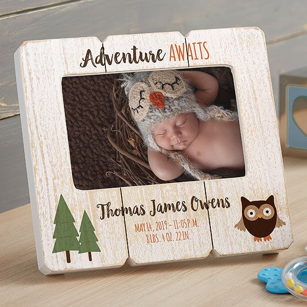 Personalized Shiplap Picture Frames - Woodland Baby - 20880