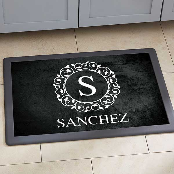 Personalized Kitchen Mats - Circle & Vine Monogram - 20892