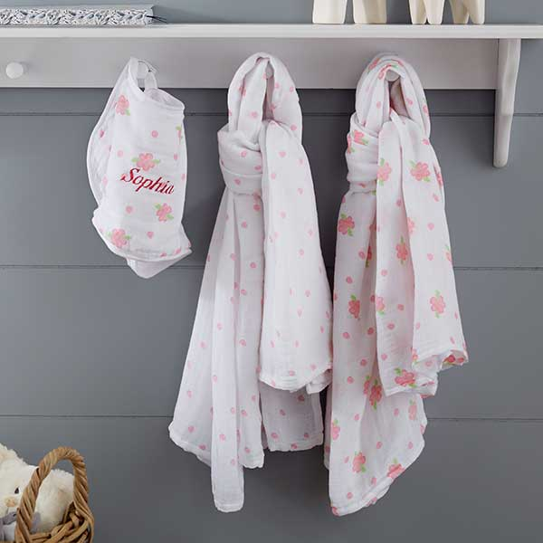 Personalized Floral Muslin Swaddle Blanket & Bib Set - 20906