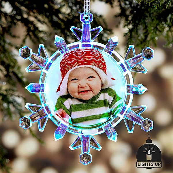 Snowflake Photo Light Up Christmas Ornament - 20912