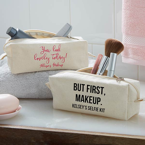 Personalized Canvas Makeup Bag - Add Any Text - 20929