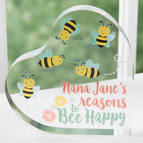 Bee Happy Personalized Glass Heart Keepsake - 20937