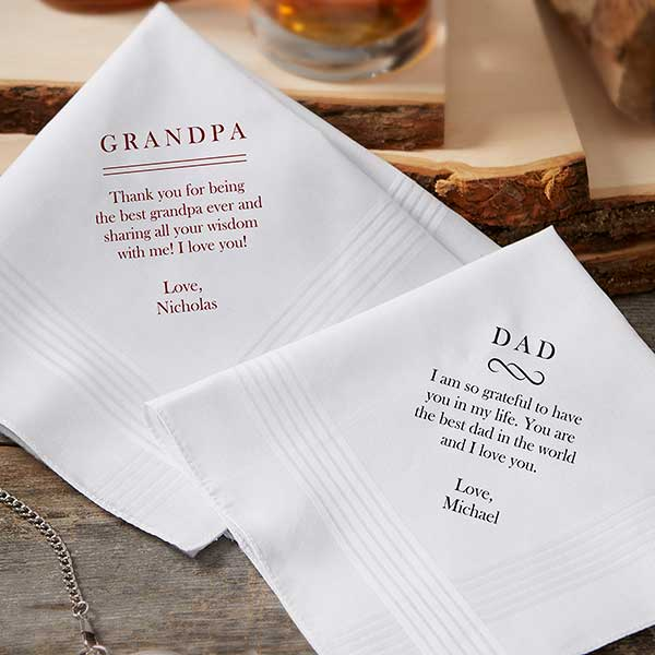 Personalized Mens Handkerchief - Add Any Text - 20953