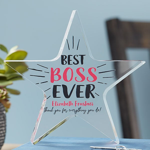 personalized best boss ever award star
