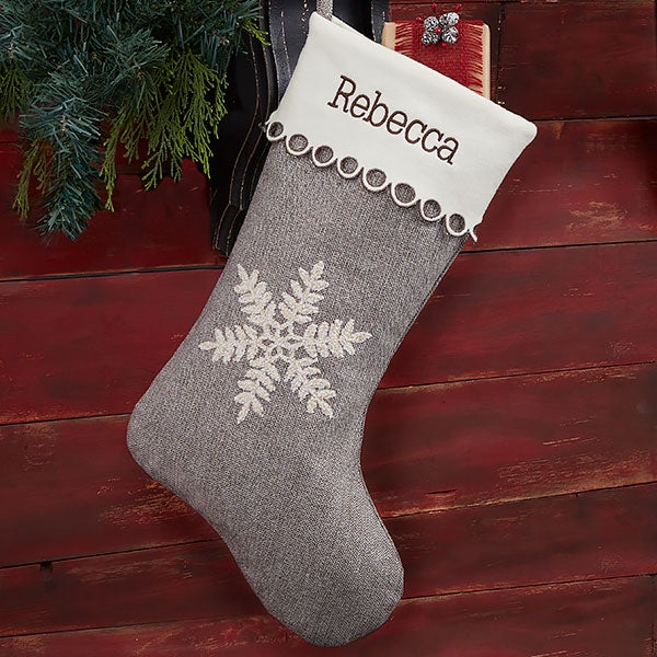 Grey White Snowflake Personalized Christmas Stocking