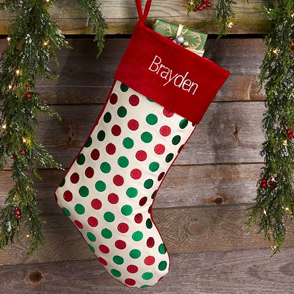 383366cce Red   Green Polka Dot Personalized Christmas Stockings - Christmas ...