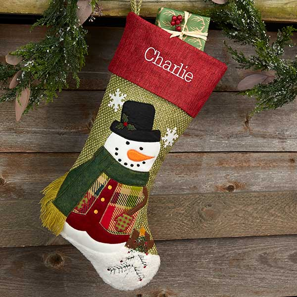 Rustic Snowman Personalized Christmas Stockings - 20992