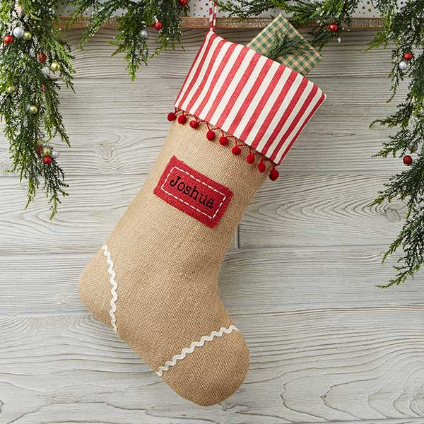 Burlap Christmas Stockings.Personalized Burlap Christmas Stocking