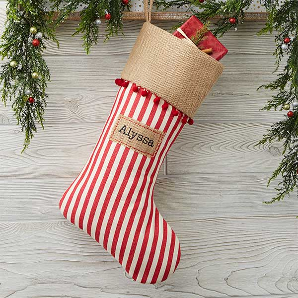 Burlap Christmas Stockings.Personalized Striped Christmas Stocking