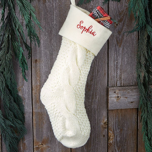 Cable Knit Christmas Stockings.Ivory Cozy Cable Knit Personalized Christmas Stocking