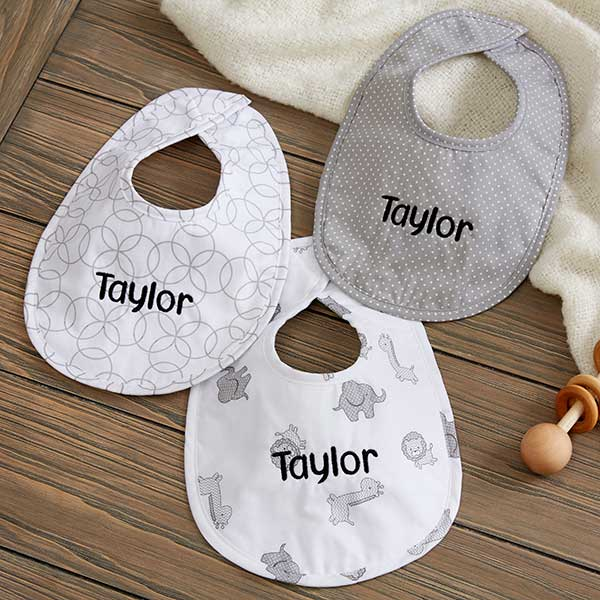 Baby Bibs & Burp Cloths Your Choice of Words Embroidered Baby Bandana Dribble Bib Gift Personalised Text