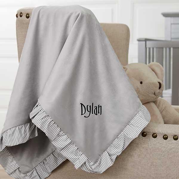 Custom Embroidered Baby Blanket - Grey Velour - 21022
