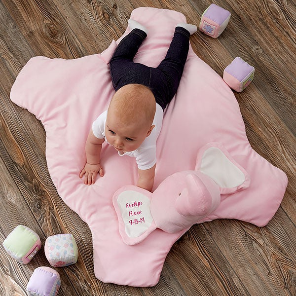 Personalized Baby Play Mat - Jumbo Plush Elephant - 21045
