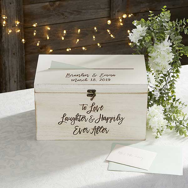 Card Box Wedding.Ever After Personalized Wedding Wood Card Box