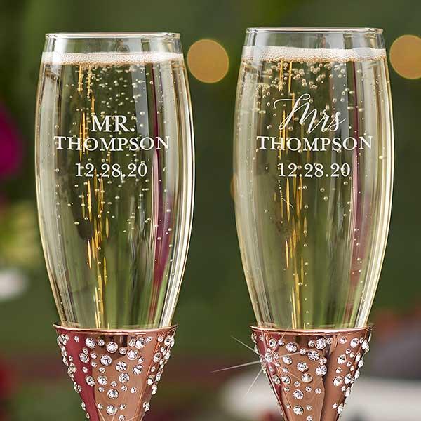 Radiant Rose Gold Etched Wedding Champagne Flutes - 21110