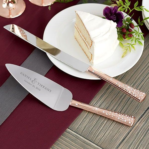 Rose Gold Engraved Cake Knife Server Set