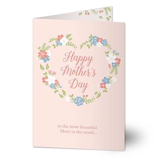 Personalized Mother's Day Card - Floral Wreath - 21129