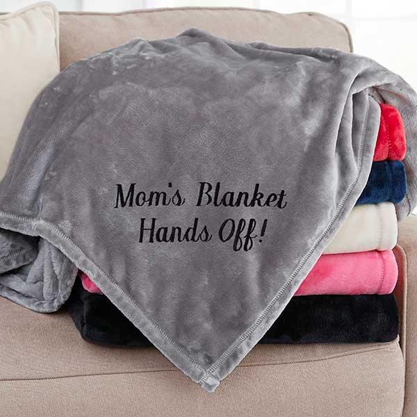 """Mother/'s Day Faux-Fur Throw Blanket 50x60"""" Embroidery White Blanket Gray Blanket"""