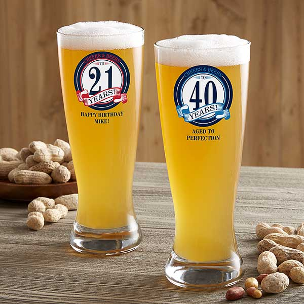 Personalized Happy Birthday Beer Glass - Cheers & Beers - 21152