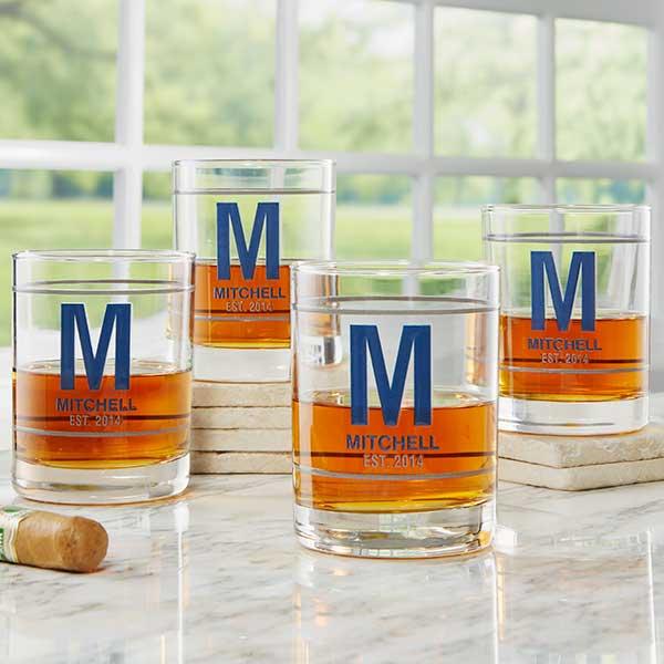 Monogram & Name Personalized Whiskey Glasses - 21156