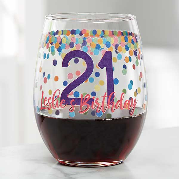 Confetti Cheers Personalized Birthday Wine Glasses - 21157