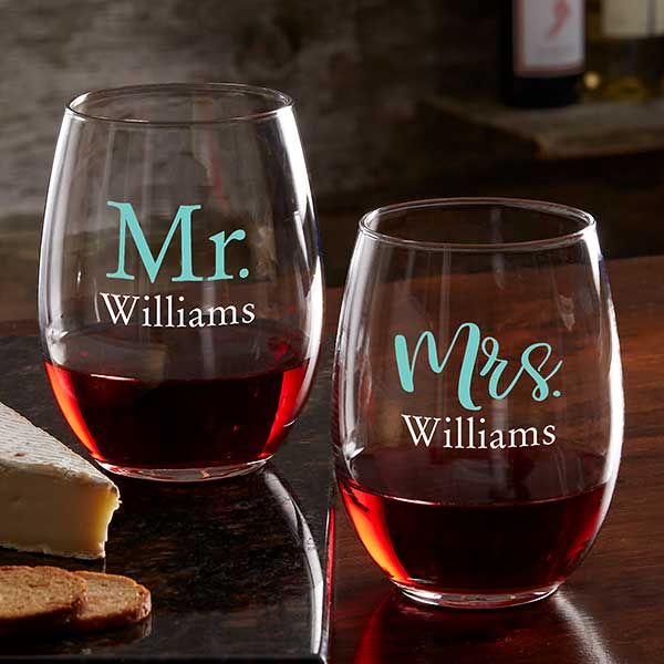 Personalized Wine Glasses - Wedding & Engagement - 21160