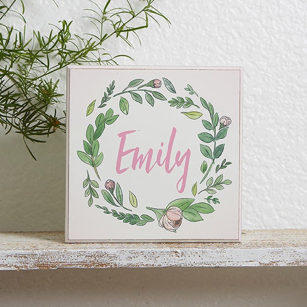 Woodland Floral Personalized Shelf Block - 21183