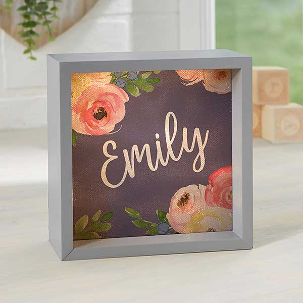 Personalized LED Light Shadow Box - Baby Floral - 21186