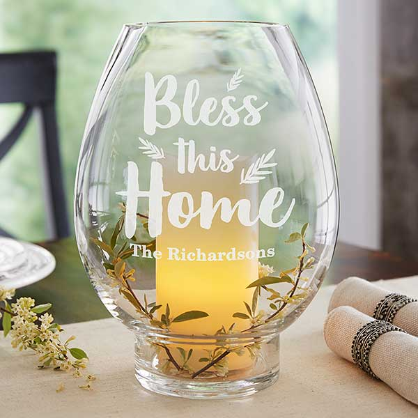 Bless This Home Engraved Hurricane Candle Holder - 21193