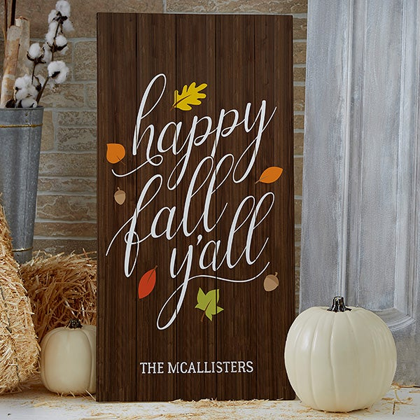 Hy Fall Y All Personalized Standing Wood Sign