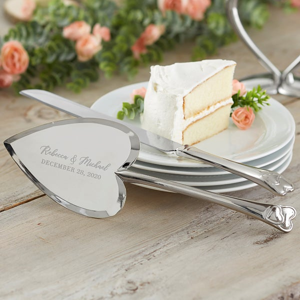 Personalized Wedding Cake Knife Server Set Laurels Of Love
